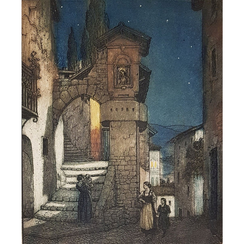 Frederick Marriott Etching Subiaco at Night colour etching by Frederick Marriott
