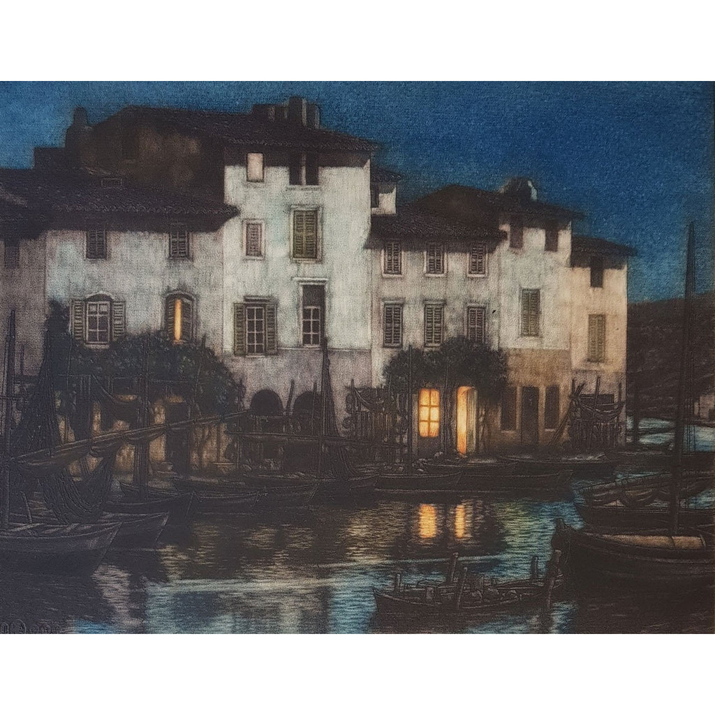 Frederick Marriott Etching The Brescon, Martigues colour etching by Frederick Marriott