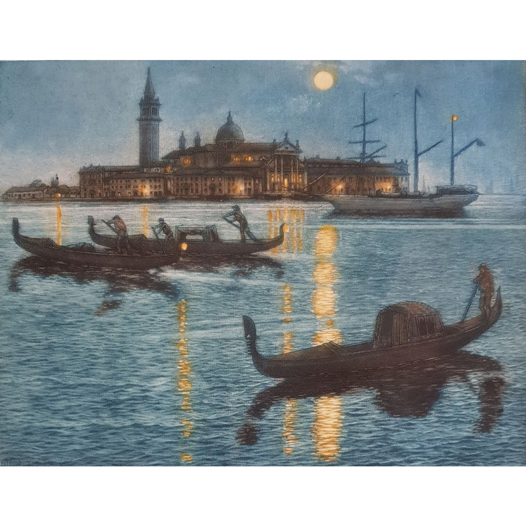 Frederick Marriott Etching Venice by Night colour etching by Frederick Marriott