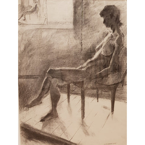 Geoffrey Wynne RI Original Art Default Title Female Nude study in pencil c1970 by Geoffrey Wynne RI