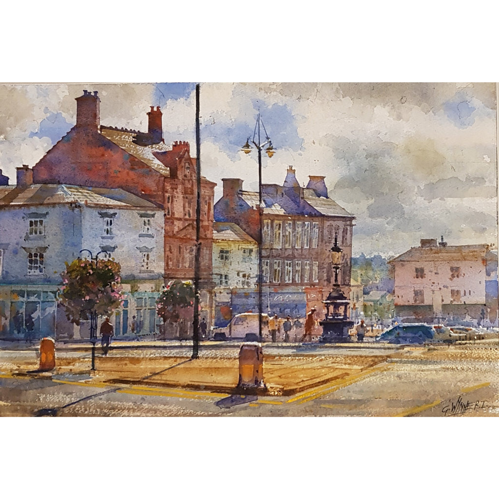 Geoffrey Wynne RI Original Art Fountain Square, Burslem by Geoffrey Wynne RI