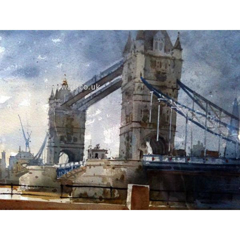 Geoffrey Wynne RI Original Art Grey Day at Tower Bridge by Geoffrey Wynne RI