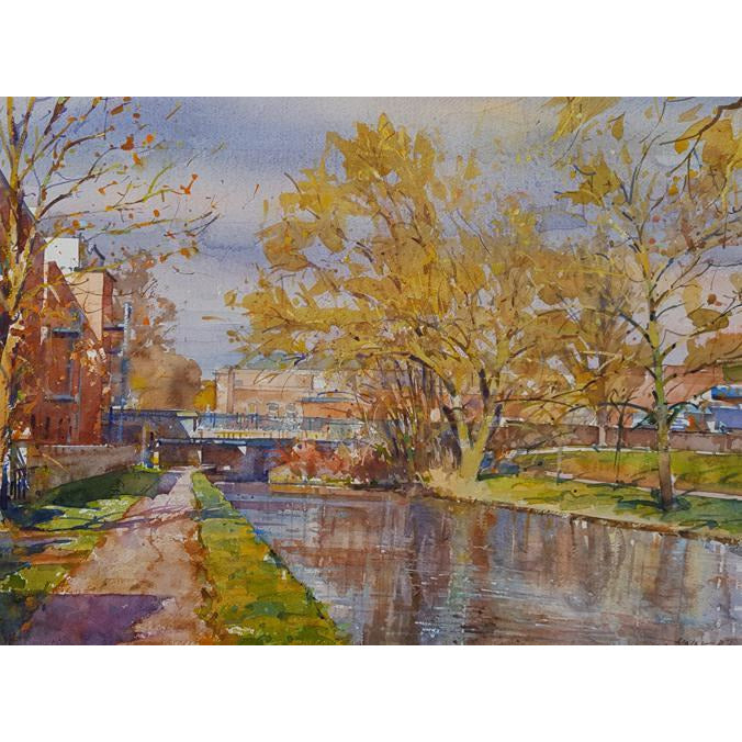 Geoffrey Wynne RI Original Art Late Autumn on the Canal, Cliffe Vale, Stoke on Trent  by Geoffrey Wynne RI