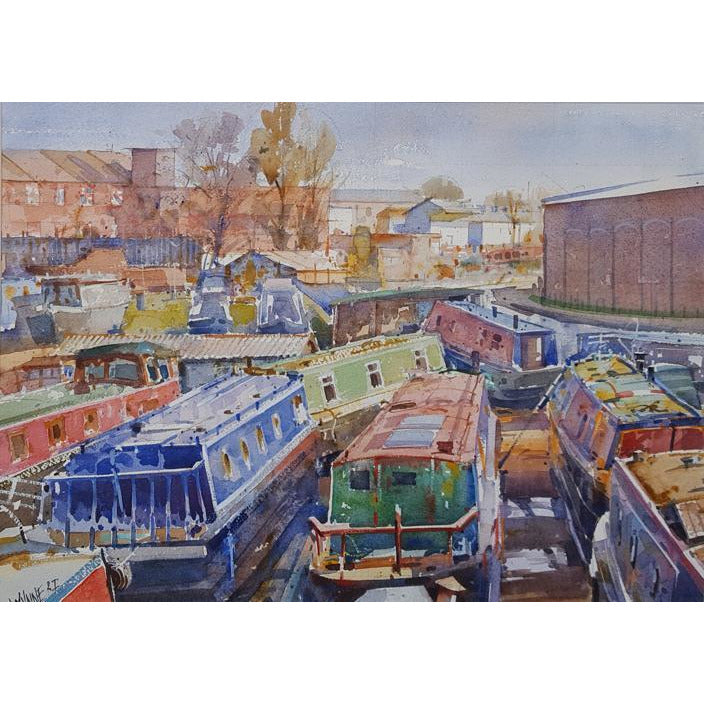 Geoffrey Wynne RI Original Art Longport Boat Yard, Trent and Mersey Canal by Geoffrey Wynne RI