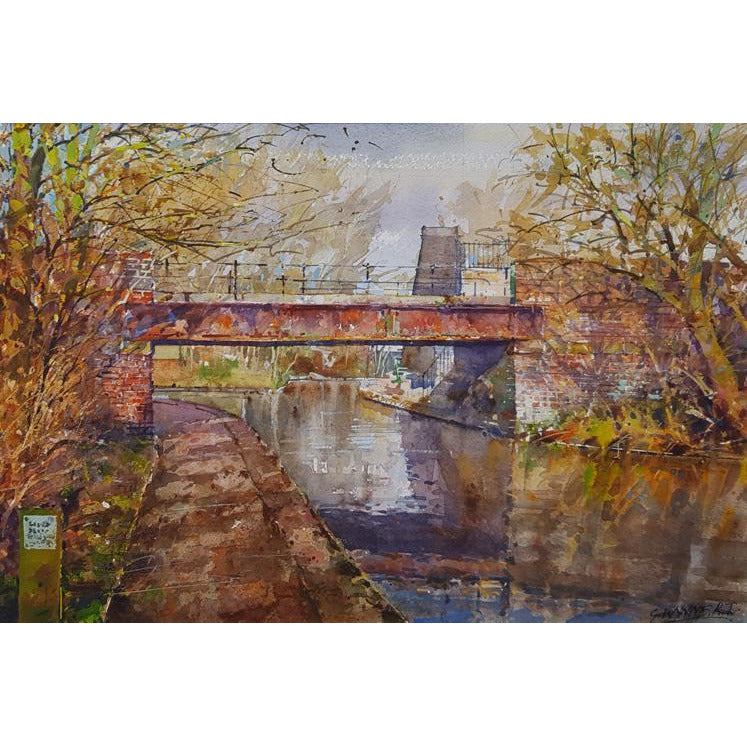 Geoffrey Wynne RI Original Art Low light approaching bridge, Trent and Mersey Canal by Geoffrey Wynne RI