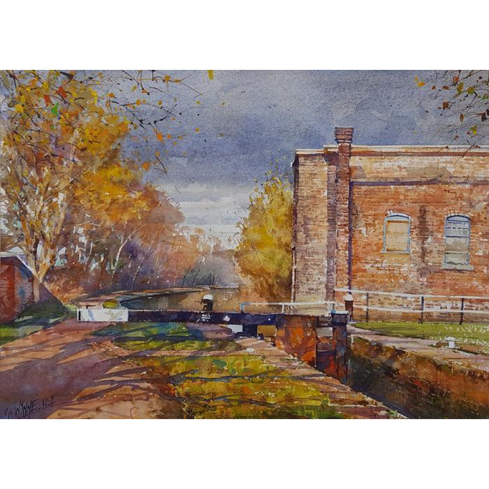 Geoffrey Wynne RI Original Art Low light over Lock, Trent and Mersey Canal by Geoffrey Wynne RI