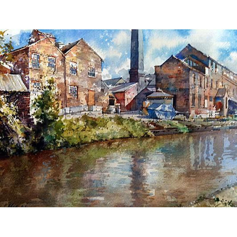 Geoffrey Wynne RI Original Art Middleport Pottery, Canal Side by Geoffrey Wynne