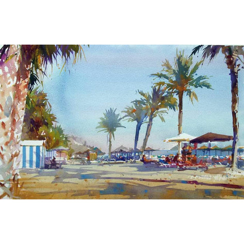 Geoffrey Wynne RI Original Art Palm Trees on the Beach, Almuñécar by Geoffrey Wynne RI