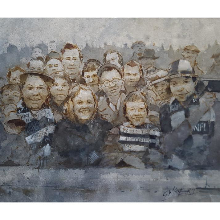 Geoffrey Wynne RI Original Art Port Vale Crowd at Fulham 1962 by Geoffrey Wynne RI
