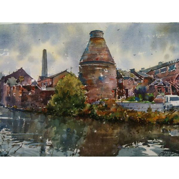 Geoffrey Wynne RI Original Art Price and Kensington Canal Side by Geoffrey Wynne