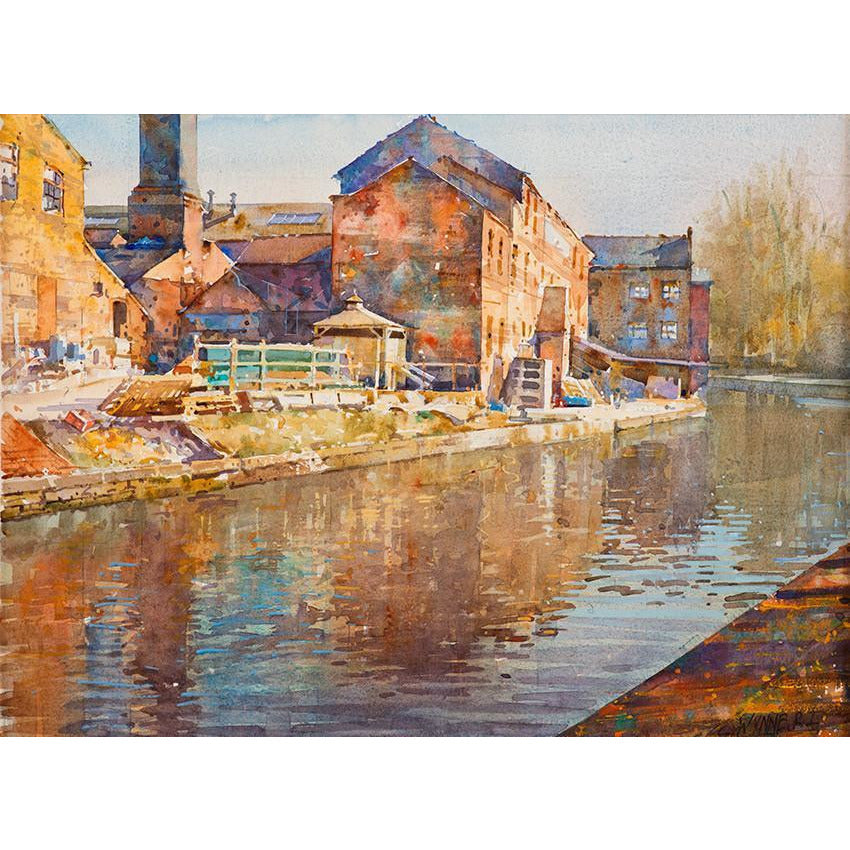 Geoffrey Wynne RI Original Art Reflections II (Middleport Canal) by Geoffrey Wynne RI