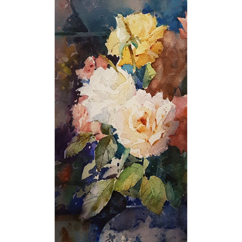 Geoffrey Wynne RI Original Art Roses on a dark background by Geoffrey Wynne RI