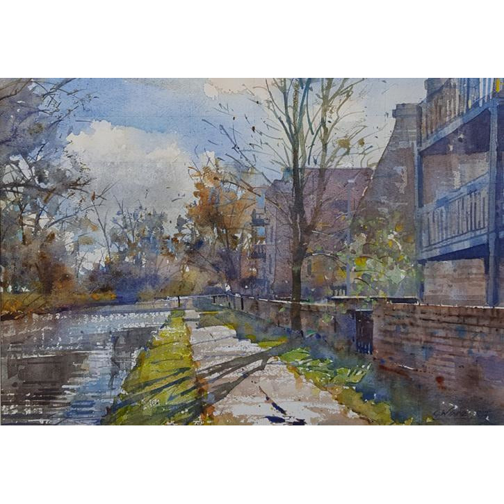 Geoffrey Wynne RI Original Art Spring Light over Cliffe Vale, Trent and Mersey Canal by Geoffrey Wynne RI