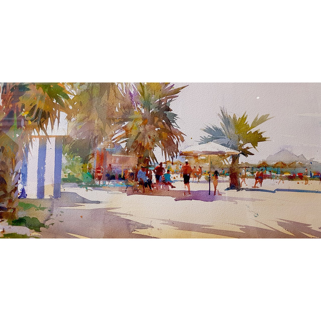 Geoffrey Wynne RI Original Art Taking The Shade, Almuñécar by Geoffrey Wynne RI