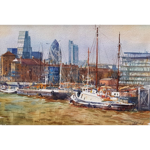 Geoffrey Wynne RI Original Art Thames Harbourside by Geoffrey Wynne RI