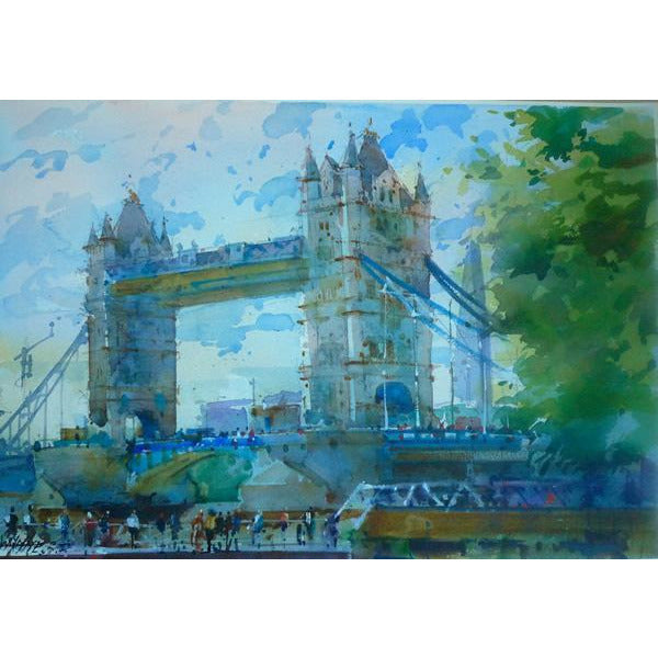 Geoffrey Wynne RI Original Art Tower Bridge, Entrance to St Katherines Dock  by Geoffrey Wynne RI