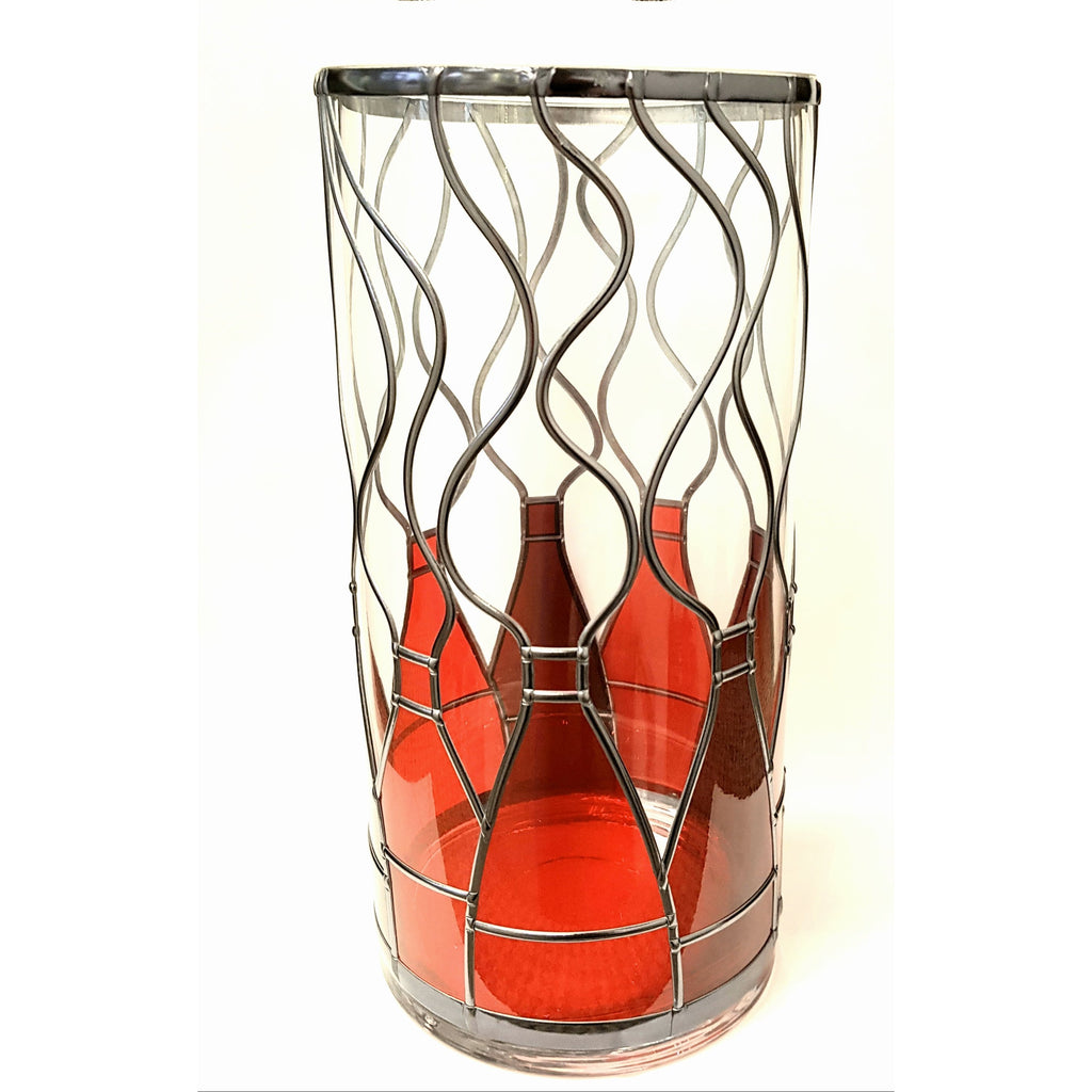Glass Gift Red Bottle Kiln Vase by Hedgeberry Glass