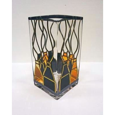 Square Glass Black and Gold Kiln Vase by Hedgeberry Glass