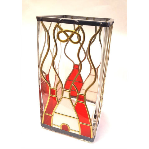 Glass Gift Square Glass Red and White Stoke City Kiln Vase by Hedgeberry Glass