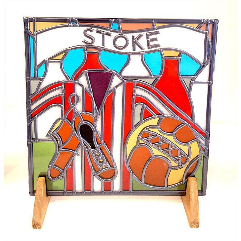Glass Gift Stoke City Football Suncatcher by Hedgeberry Glass