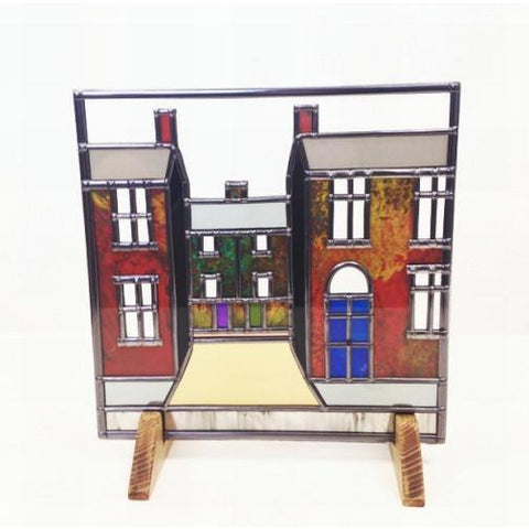 Glass Gift Terrace Street Scene Suncatcher by Hedgeberry Glass