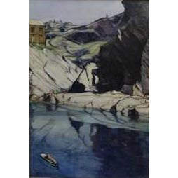 Gordon M Forsyth RI Original Art The Smuggler's Cave, Polperro by Gordon M Forsyth RI