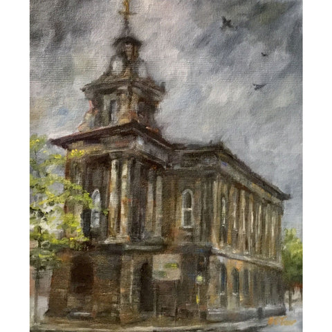 Helen Tarr Original Art Burslem Town Hall with Pigeons by Helen Tarr