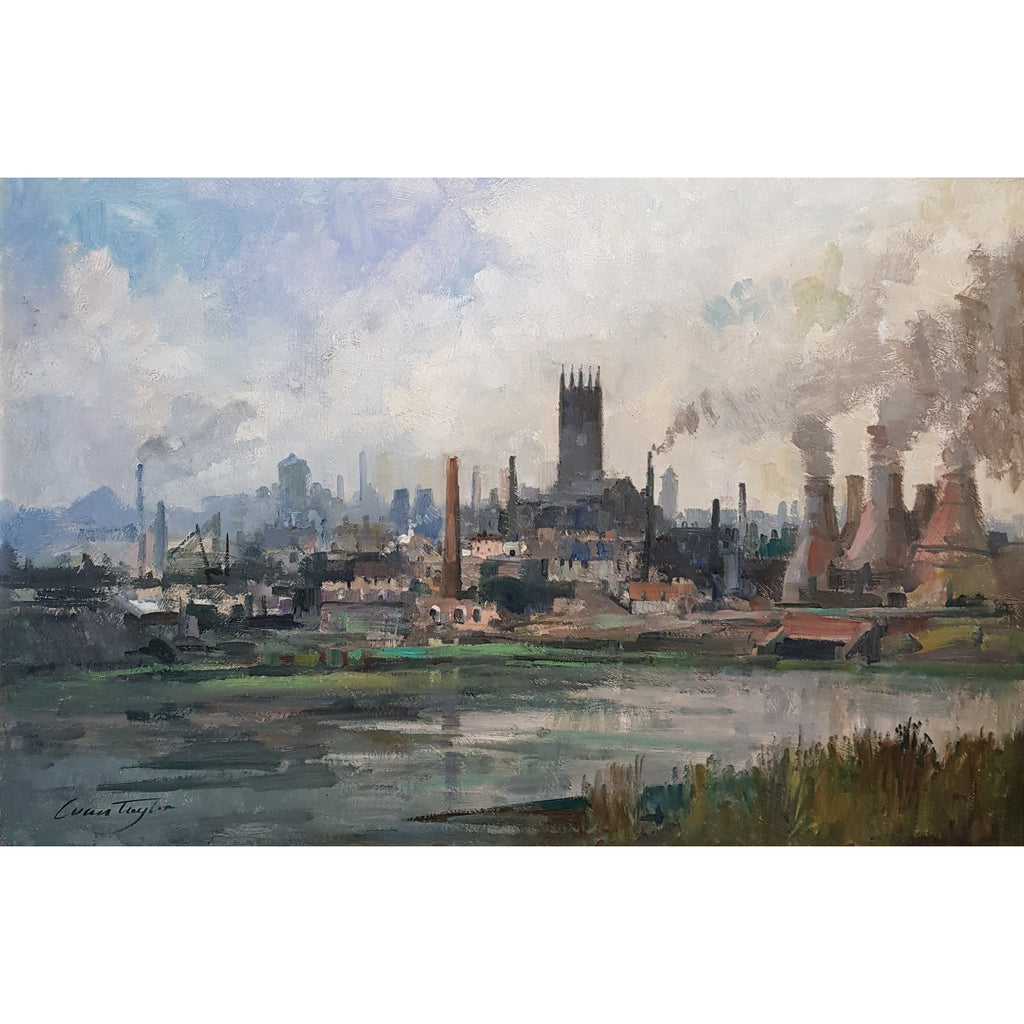Ivan Taylor Original Art Burslem from Westport Lake circa 1959 Oil by Ivan Taylor