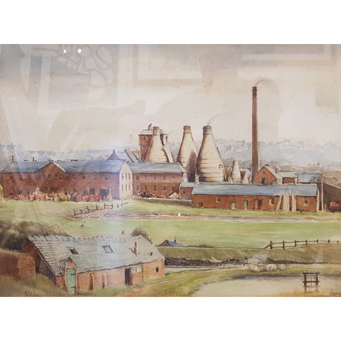Greenfield Pottery, Tunstall circa1942 Watercolour by J A Hackley | Original Art by Ivan Taylor | Barewall Art Gallery