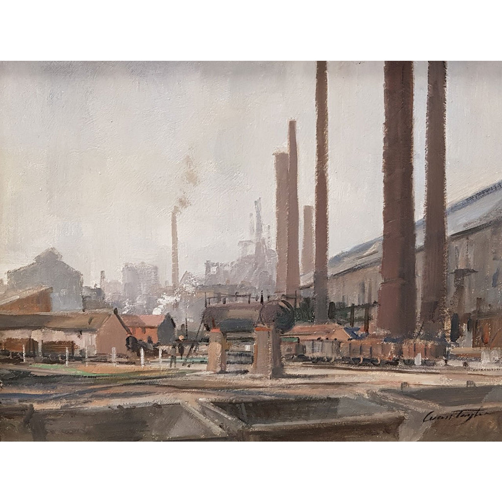 Ivan Taylor Original Art Shelton Bar Iron and Steel Works, circa 1959 Oil by Ivan Taylor