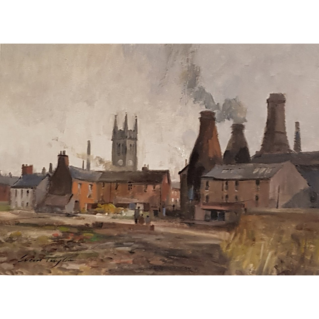 Ivan Taylor Original Art St James from Chelson Street Longton circa 1959 Oil by Ivan Taylor