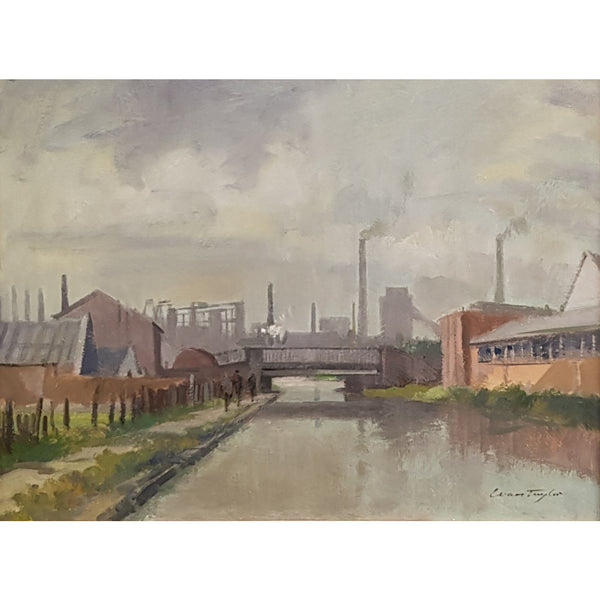 Ivan Taylor Original Art Towards Shelton Bar, Cauldon Canal circa 1959 Oil by Ivan Taylor