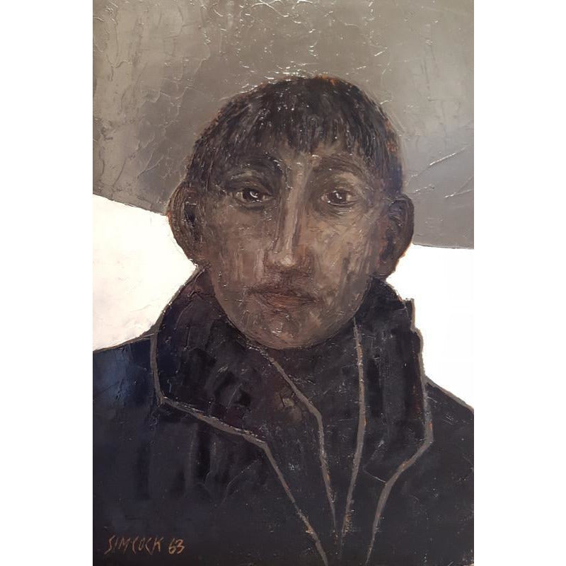Jack Simcock Original Art Boy in Coat 1963 Oil Painting by Jack Simcock