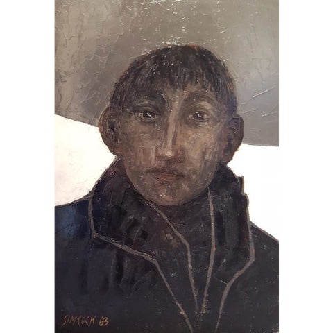 Boy in Coat 1963 Oil Painting by Jack Simcock | Original Art by Jack Simcock | Barewall Art Gallery