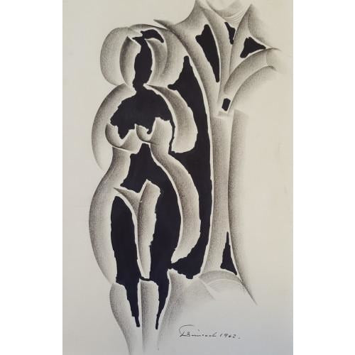 Female Nude and Tree Drawing 1962 by Jack Simcock | Original Art by Jack Simcock | Barewall Art Gallery