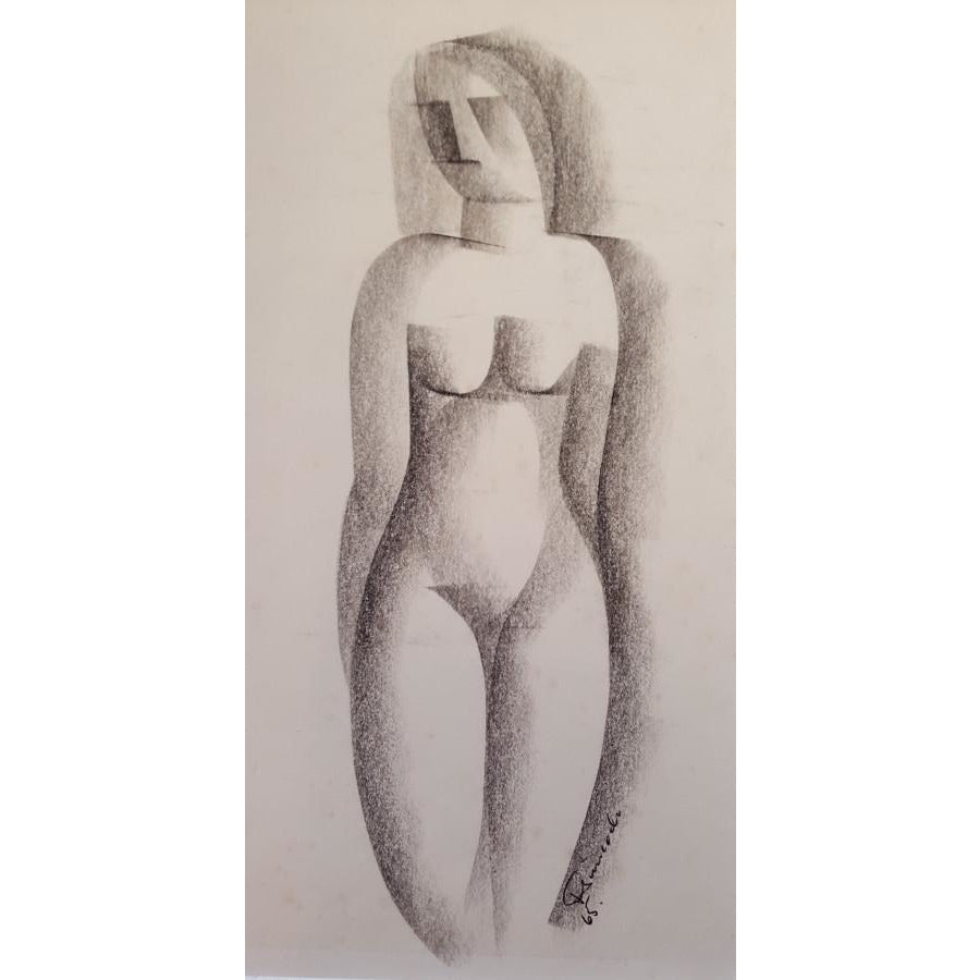 Jack Simcock Original Art Nude Figure Drawing 1965 by Jack Simcock