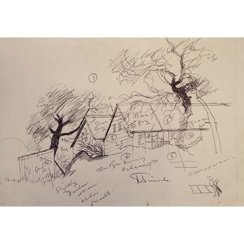 Jack Simcock Original Art Traditional signed biro pen working drawing by Jack Simcock