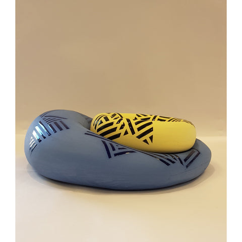 Jessie Roberts Ceramics Cobalt Blue Blob with Sun Yellow Dish 2019 by Jessie Roberts