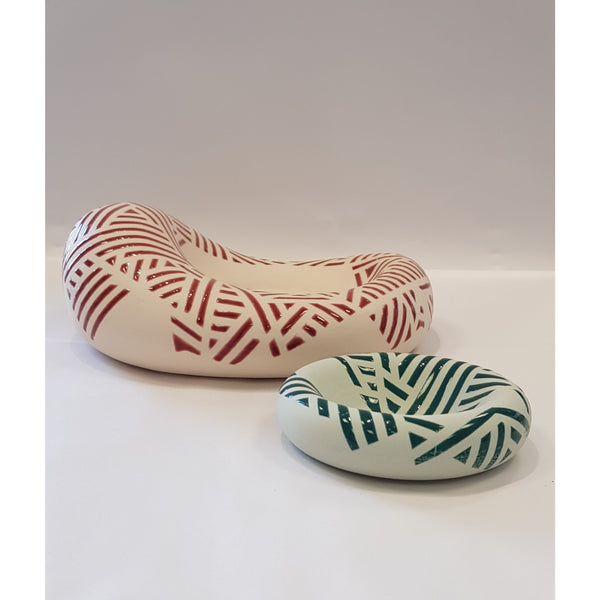 Jessie Roberts Ceramics Crimson Blob with Green Dish 2019 by Jessie Roberts