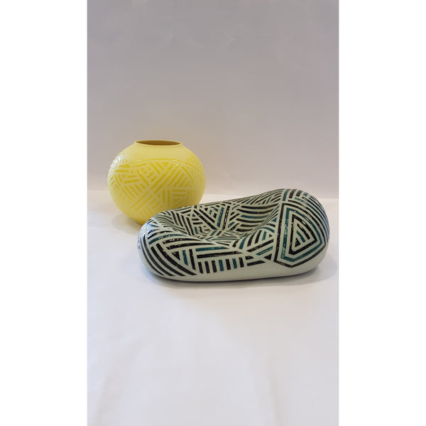 Jessie Roberts Ceramics Green Blob with Sun Yellow Vessel 2019 by Jessie Roberts