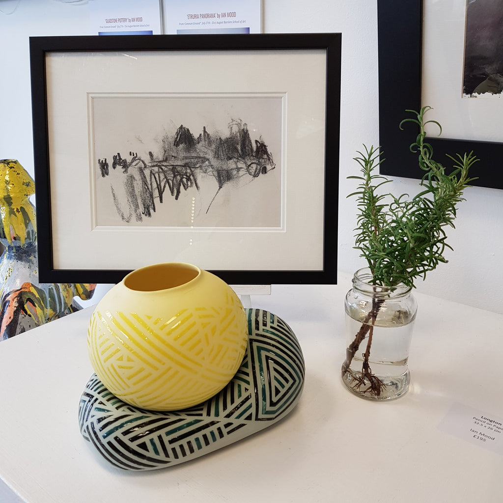 Jessie Roberts Ceramics Green Blob with Sun Yellow Vessell 2019 by Jessie Roberts