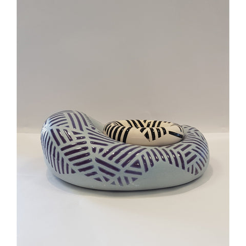 Jessie Roberts Ceramics Lavender Blob with Black and White Dish 2019 by Jessie Roberts