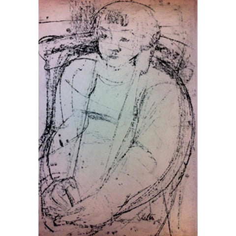 Girl Seated 1959 by John Shelton | Original Art by John Shelton | Barewall Art Gallery