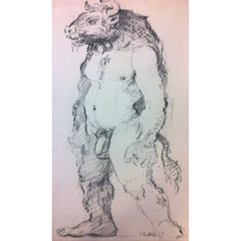 John Shelton Original Art Minotaur Figure drawing 1967 by John Shelton