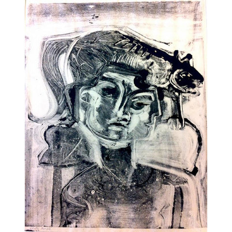 John Shelton Original Art Monoprint Woman with A Cat 1962 by John Shelton