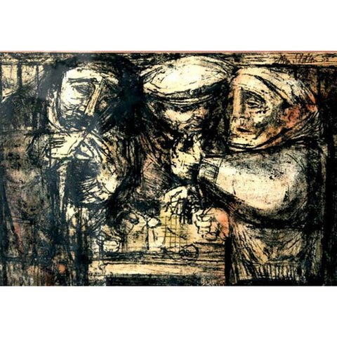 John Shelton Original Art Three Fishermen Monoprint