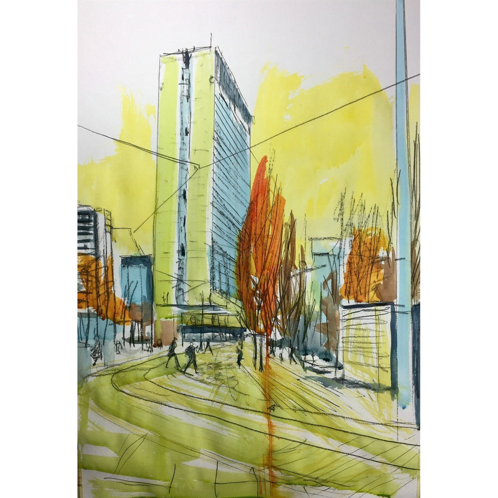 Justin Twigg Original Art JT003 City Tower Building Manchester I by Justin Twigg