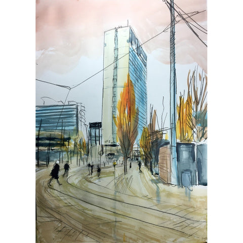 Justin Twigg Original Art JT004 City Tower Building Manchester II by Justin Twigg