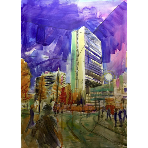 Justin Twigg Original Art JT007 City Building, Manchester III by Justin Twigg