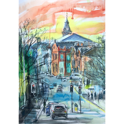 Justin Twigg Original Art JT009 Burslem Town from Moorland Road by Justin Twigg